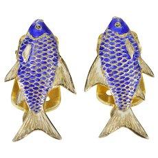 Sterling Silver Ornate Blue Enamel Scale Fish Clip Back Earrings   [QRXC]