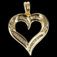 14K 0.20 Ctw Diamond Inset Wavy Curvy Heart Pendant Yellow Gold [QRXP]