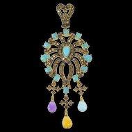 14K 2.90 Ctw Brown Diamond Turquoise Ornate Pendant Yellow Gold [QRXP]