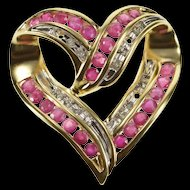 14K 1.36 Ctw Ruby Diamond Encrusted Wavy Heart Pendant Yellow Gold [QRXP]