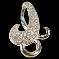 14K 0.50 Ctw Pave Diamond Encrusted Curvy Swirl Pendant White Gold [QRXP]
