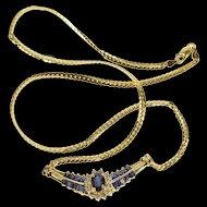 "14K 2.32 Ctw Sapphire Diamond Chevron Pendant Necklace 17"" Yellow Gold [QRXP]"