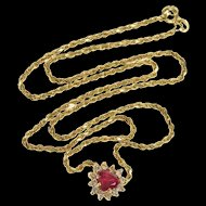 """14K 0.75 Ctw Syn. Ruby Diamond Heart Rope Chain Necklace 15.25"""" Yellow Gold [QRXP]"""
