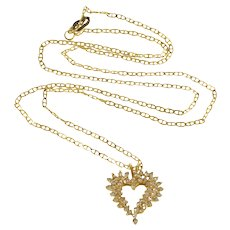 """14K 0.50 Ctw Diamond Encrusted Heart Anchor Chain Necklace 22"""" Yellow Gold  [QRXC]"""