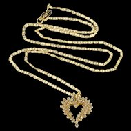 """14K 0.50 Ctw Diamond Encrusted Heart Anchor Chain Necklace 22"""" Yellow Gold [QRXP]"""