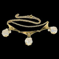 """14K 13.5 Ctw Moonstone Pearl Inset Ornate Chain Necklace 16"""" Yellow Gold [QRXP]"""