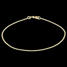 """14K 1.1mm Pressed Anchor Link Fancy Chain Bracelet 6.9"""" Yellow Gold  [QWQX]"""