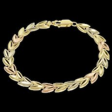 "14K Tri Tone Rounded Chevron Wreath Link Bracelet 7.5"" Rose Gold  [QWQX]"
