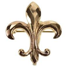 14K Lattice Patterned Fleur De Lis Symbol Pin/Brooch Yellow Gold  [QWQX]