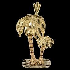 14K Textured Design Tri Tone Palm Tree Pendant Yellow Gold  [QWQX]