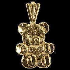 14K Textured Teddy Bear Stuffed Animal Pendant Yellow Gold  [QWQX]