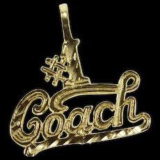14K #1 Number One Coach Cursive Sports Pendant Yellow Gold  [QWQX]