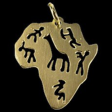 9K Stylized Cut Out Africa African Continent Pendant Yellow Gold  [QWQX]