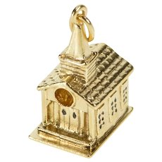 14K 3D Church Chapel Building Charm/Pendant Yellow Gold [QRXP]