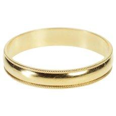 14K Men's Milgrain Rounded Design Wedding Band Ring Size 11 Yellow Gold [QWXP]