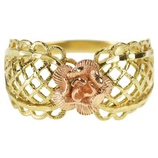 14K Rounded Lattice Scalloped Trim 3D Rose Flower Ring Size 7.75 Yellow Gold [QRXF]