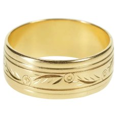 14K Floral Etched Leaf Motif Ornate Wedding Band Ring Size 8.75 Yellow Gold [QRXP]