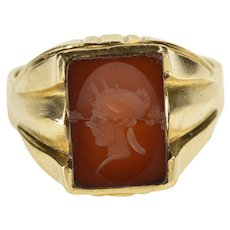 10K Carved Intaglio Carnelian Men's Statement Ring Size 10.75 Yellow Gold [QWXP]