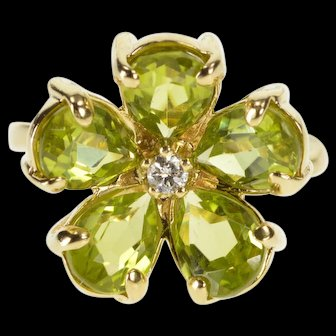14K Peridot Diamond Inset Flower Floral Cocktail Ring Size 3.75 Yellow Gold [QWXP]