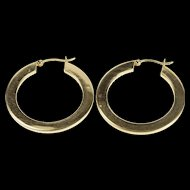 14K Pressed Squared Design Hollow Round Hoop Earrings Yellow Gold  [QRXF]