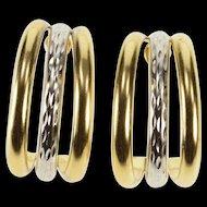 14K Two Tone Three Split Oval Semi Hoop Post Back Earrings Yellow Gold  [QRXF]