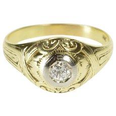 14K 0.25 Ct Diamond Solitaire Ornate Men's Wedding Ring Size 11 Yellow Gold [QWXP]