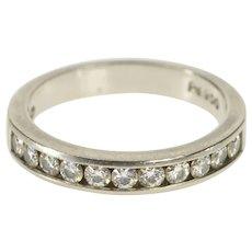 Palladium 0.33 Ctw Moissanite Channel Inset Wedding Band Ring Size 5.25  [QRXP]