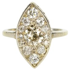 14K 1.35 Ctw Diamond Ornate Pointed Oval Engagement Ring Size 7 White Gold [QWXW]
