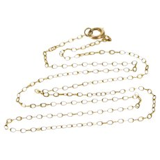 """10K 1.6mm Cable Oval Link Fancy Chain Necklace 14.75"""" Yellow Gold  [QWXP]"""