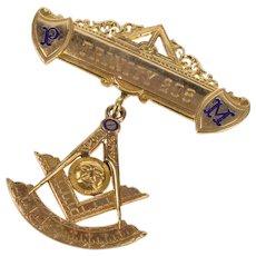 10K Ornate Enamel Masonic Past Master Dangle Pin/Brooch Yellow Gold  [QWXP]