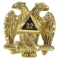 10K Black Enamel 32nd Degree Masonic Lapel Pin/Brooch Yellow Gold  [QWXW]