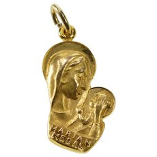 Virgin mary gold jewelry ruby lane 10k marian medal catholic virgin mother mary charmpendant yellow gold qwxp aloadofball Choice Image