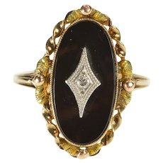 10K Black Onyx Oval Diamond Overlay Twist Leaf Trim Ring Size 7 Yellow Gold [QRXP]