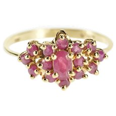 10K 1970's Oval Ruby Cluster Alternative Engagement Ring Size 7 Yellow Gold [QWXW]