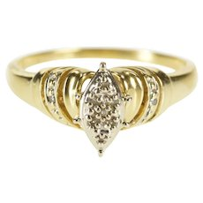 10K Marquise Diamond Cluster Promise Engagement Ring Size 8.5 Yellow Gold [QWXW]