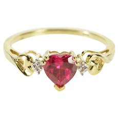 10K Heart Syn. Ruby Diamond Anniversary Promise Ring Size 7.25 Yellow Gold [QWXW]