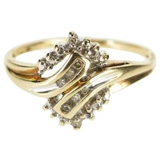 10K 1970's Diamond Semi Halo Bypass Promise Ring Size 7.25 Yellow Gold [QWXW]