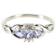 10K Three Stone Tanzanite Diamond Engagement Ring Size 7.25 White Gold [QWXW]