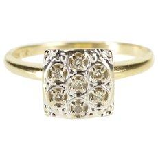 10K Retro Square Diamond Cluster Inset Fashion Ring Size 6 Yellow Gold [QWXW]