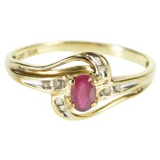 10K Ruby Oval Diamond Accent Wavy Engagement Ring Size 7 Yellow Gold [QWXW]