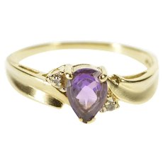 10K Pear Amethyst Diamond Alternative Engagement Ring Size 7 Yellow Gold [QWXW]