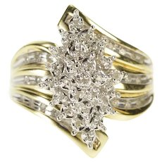 10K Retro Diamond Pointed Cluster Freeform Ring Size 6 Yellow Gold [QWXW]