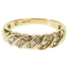 10K Retro Diamond Twist Wavy Inset Wedding Band Ring Size 7 Yellow Gold [QRXW]