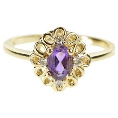 10K Oval Amethyst Diamond Floral Trim Engagement Ring Size 7 Yellow Gold [QWXW]