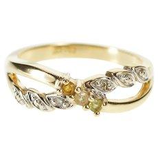 10K Peridot Quartz Citrine Diamond Criss Cross Band Ring Size 6 Yellow Gold [QWXW]