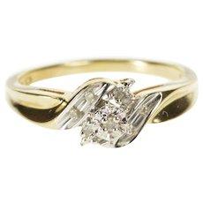 14K Retro Illusion Diamond Bypass Engagement Ring Size 9 Yellow Gold [QWXW]
