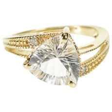 10K Trillion Diamond Travel Engagement Bypass Ring Size 6 Yellow Gold [QWXW]