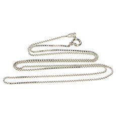 "18K 0.9mm Square Chain Fashion Fancy Box Link Necklace 15.5"" White Gold  [QWXW]"