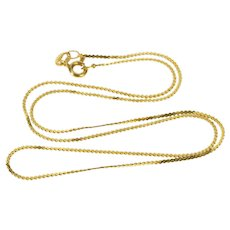 "14K 1.0mm Pressed Serpentine Link Fashion Chain Necklace 15.5"" Yellow Gold  [QWXW]"