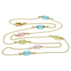 """18K 1.1mm Ball Chain Pink Green Blue Glass Bead Necklace 16.5"""" Yellow Gold  [QRXF]"""